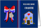 Welcome Home Coastie - Patriotic Ribbon, House, Dog Tags card