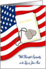 Military Sympathy for Loss of Aunt - American Flag, Bible, Dog Tags card