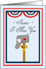 Patriotic Military Sister I Miss You, Mailbox Card