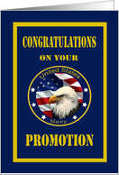 Military U.S. Navy Promotion - Blue & Gold, Eagle & American Flag card