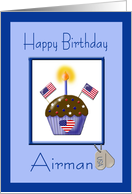 Military Birthday for U.S. Airman - Cupcake, Flags, Dog Tags card