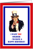Military Birthday for Soldier - Uncle Sam, Patriotic card