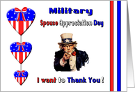 Military Spouse Appreciation Day for Wife - Uncle Sam, Hearts card