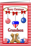 Christmas for Military Grandson - Ornaments & Combat Boots card