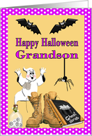 Military Halloween Card for Grandson - Ghost, Combat Boots, Bats card