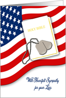 Military Sympathy - White Bible, American Flag & Dog Tags card