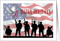 Patriotic Military Christmas - Silhouetted Soldiers & American Flag card