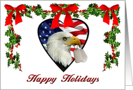 Military Patriotic American Eagle Christmas Card