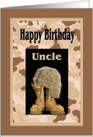 Birthday for Military Uncle, Camo and Combat Boots Card