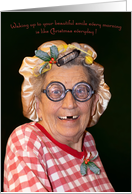 Christmas Humor for Wife with a big Christmas Smile and Curlers. card