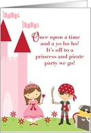 Princess and Pirate Invitation card