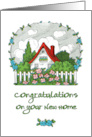 Congratulations on Your New Home - Quaint Vintage House with Flowers card