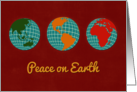 Peace on Earth, Globes, Maps, Continents, Retro Vibrant Colors card