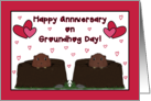 To Couple-Happy Anniversary on Groundhog Day-February card