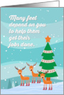 Merry Christmas Podiatrist, Reindeer in Boots, Humor, Funny card