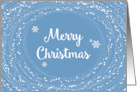 Merry Christmas, Cheerful Swirling Snow with Blue Sky card