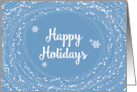 Happy Holidays, Blue and White, Elegant Swirling Snow, Dots card