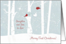 Merry First Christmas, Daughter and Son in Law, Love Birds,Newlyweds card