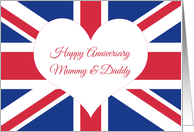 Happy Anniversary Mummy & Daddy, British Flag card