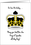 King of Spades, Birthday Wishes for Bridge Player card