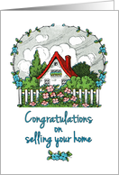 Congratulations on Selling Your Home - Quaint Home with Yard card