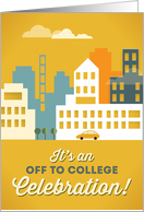 Off to College Celebration, Party Invitation, City Urban Theme card