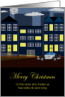 Merry Christmas to Police Department or Patrol - Urban Night Scene card