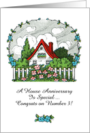 Happy Home Anniversary from Realtor to Client, Vintage Cottage Scene card