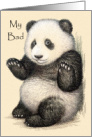 My Bad, Apology with Cute Vintage Panda Bear, Humorous, Funny card