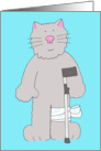 Speedy recovery from knee surgery, cat on crutch humor . card