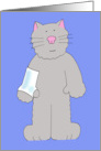 Cat with broken arm/wrist speedy recovery humour card . card