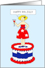 Happy 4th July fun lady on patriotic cake with cocktail. card