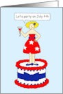 Let's party 4th July invitation fun lady on red and blue cake. card