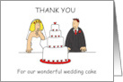 Wedding cake thank you, bride and groom. card