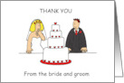 Thank you from the bride and groom. card