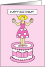 Happy Birthday female lady on a cake holding pink cupcakes. card