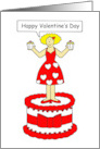 Happy Valentine's Day lady standing on a cake holding cupcakes. card