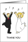 Bride and groom dancing thank you card