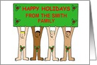 Customised Christmas card naked men with holly. card