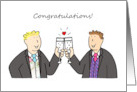 Congratulations, two grooms gay wedding, civil union or anniversary. card