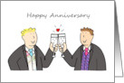 Happy Anniversary, two grooms, civil partnership, wedding. card