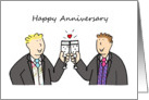 Happy Anniversary, two grooms, civil partnership, wedding for partner. card