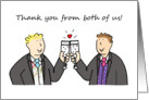 Thank you from both of us, two grooms, civil partnership/wedding.. card