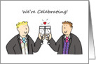 We're celebrating, two grooms, civil partnership/wedding invitation card