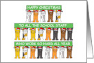 Happy Christmas to school staff card