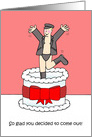 Coming out anniversary, man leaping from cake.. card