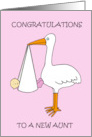 Congratulations new Aunt fun baby girl and stork. card