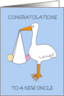 New Uncle congratulations, fun stork and baby girl. card