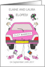 Gay ladies elopement announcement. card