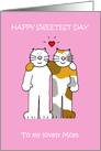 Happy Sweetest Day for Brother and Wife, cute cats. card